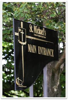 St Michael's High School entrance sign